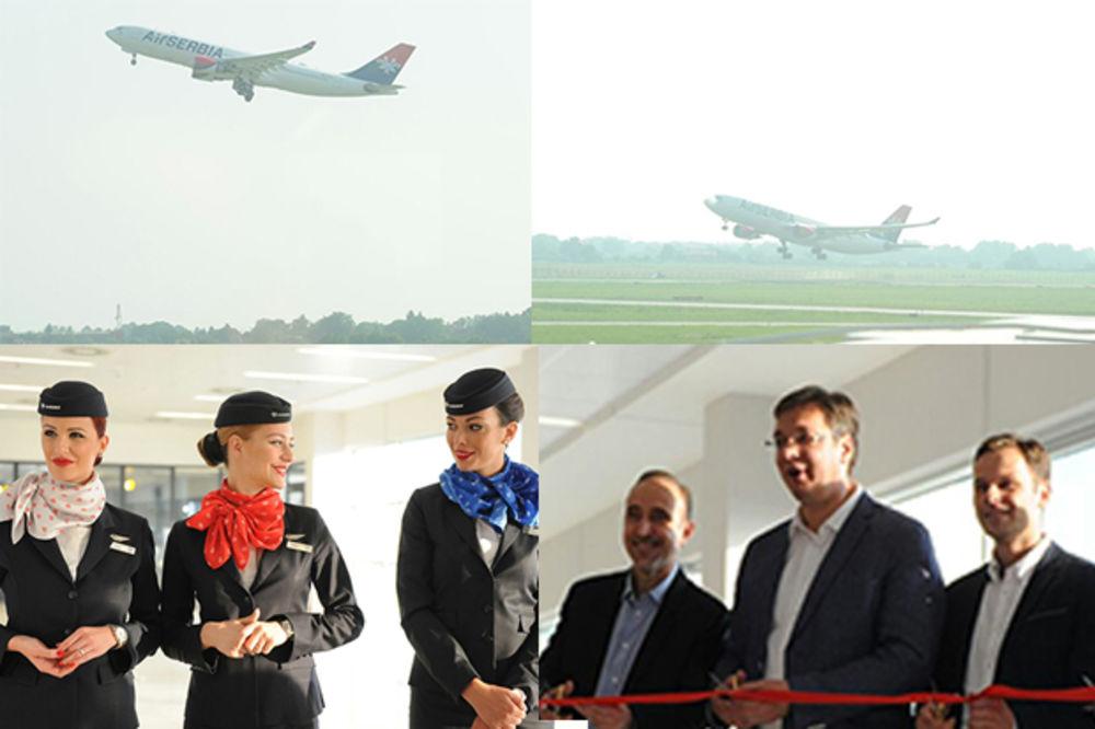 FOTO PRIČA NASMEJANE STJUARDESE I CRVENA VRPCA: Evo kako je ispraćen prvi avion Er Srbije za Njujork