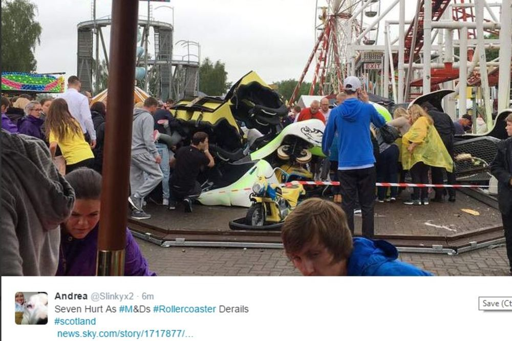 (VIDEO) HOROR U ŠKOTSKOJ: Sedmoro povređeno kada se rolerkoster srušio sa visine od 9 metara!