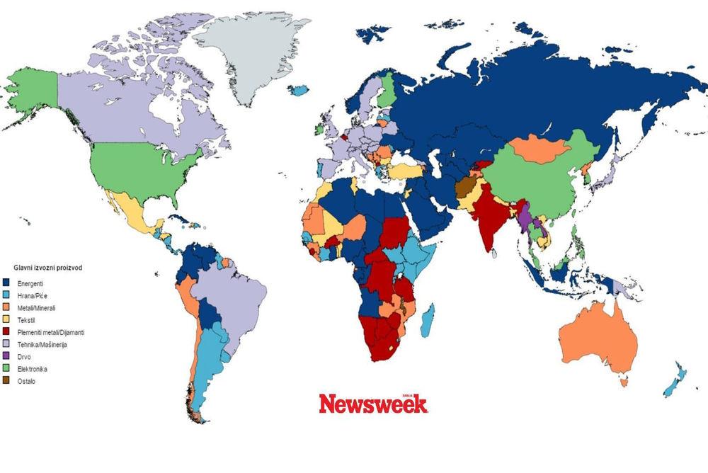 Foto Mapa Planeta Trgovine Ova Mapa Prikazuje Glavni Izvozni