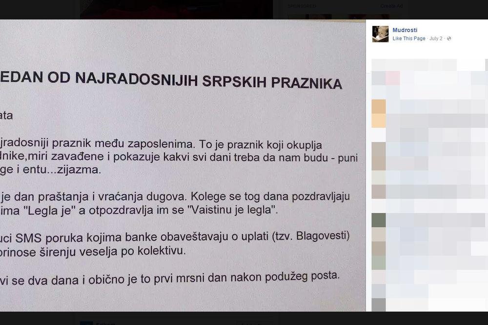 (FOTO) HIT NA FEJSBUKU: Evo šta je plata u Srbiji! Vaistinu legla je!