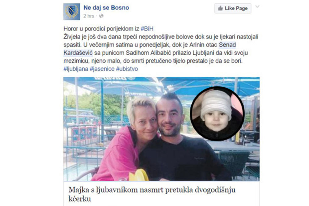 MONSTRUOZAN ZLOČIN U SLOVENIJI: Bosanka s ljubavnikom na smrt pretukla dvogodišnju ćerkicu