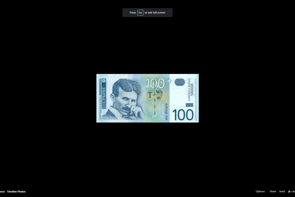 (FOTO) INTERNET ODAO POČAST NIKOLI TESLI: Fotografija novčanice od 100 dinara opet obišla svet