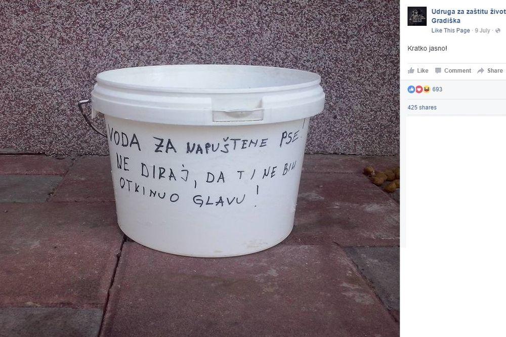 JEDNA KANTA IZ GRADIŠKE POSTALA INTERNET HIT: Voda za napuštene pse! Ne diraj, da ti ne bih...