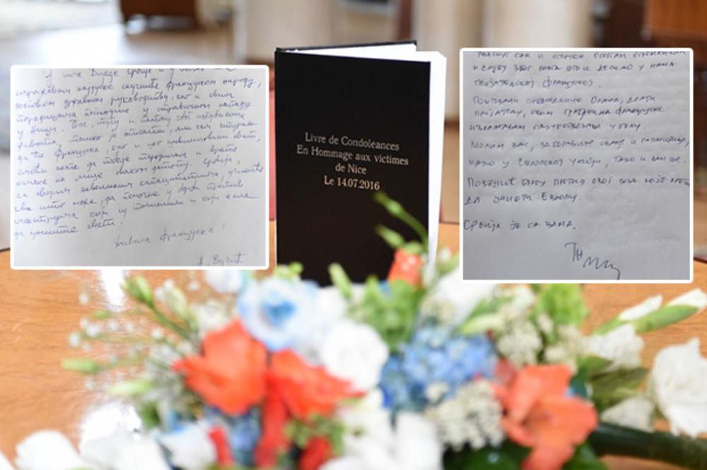 (FOTO) KNJIGA ŽALOSTI: Evo šta su Vučić i Nikolić poručili francuskom narodu posle napada u Nici