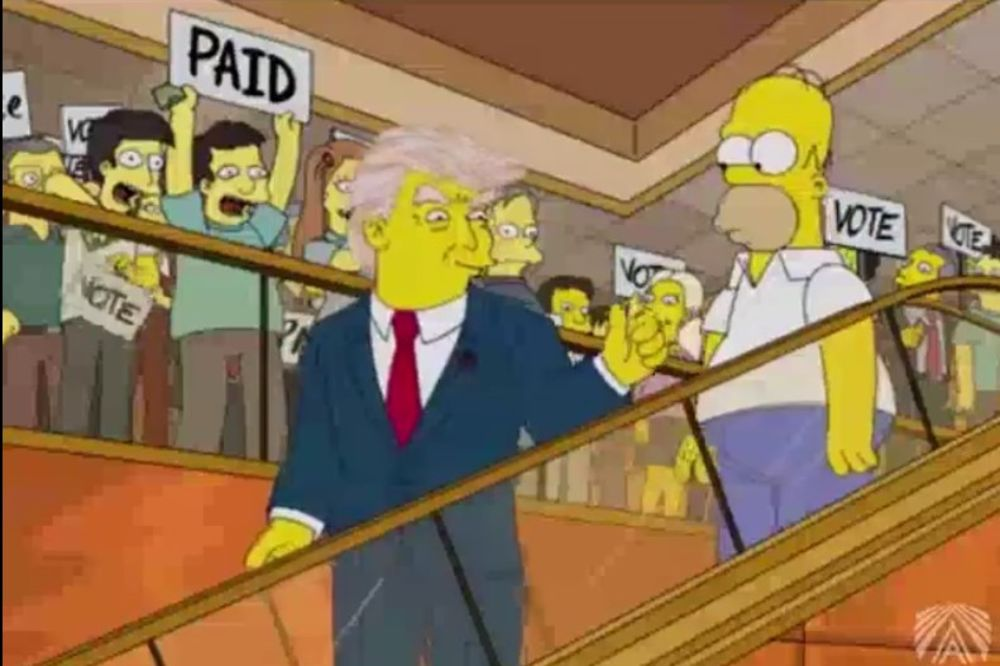 (VIDEO) ZNALI JOŠ PRE 15 GODINA: Simpsonovi predvideli kako Tramp pozdravlja pristalice!