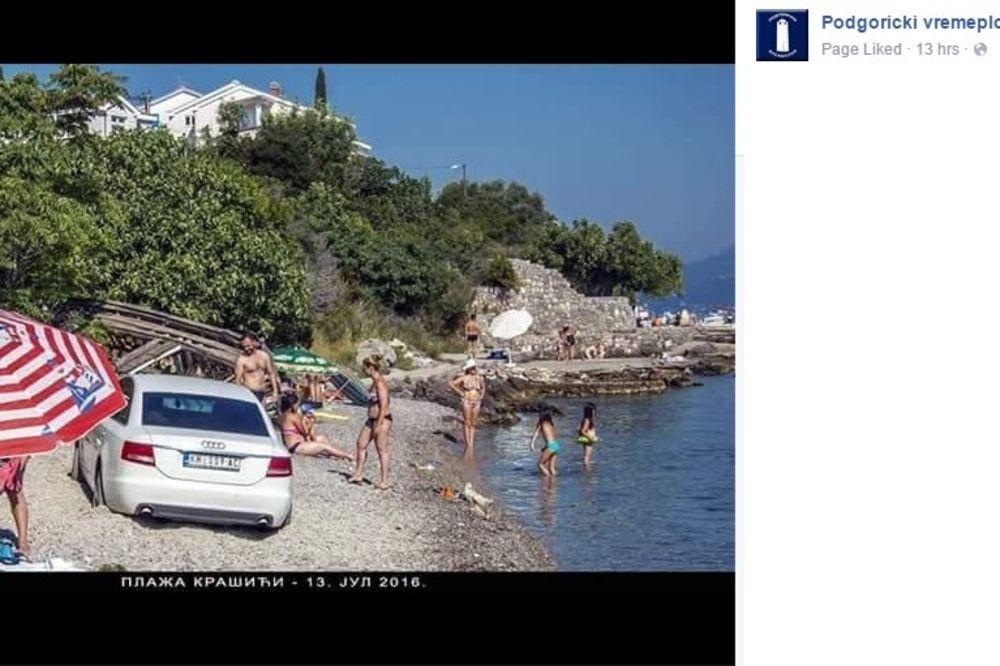 SAMO U CRNOJ GORI: Kola parkirao nasred plaže u Boki Kotorskoj, kupačima nije smetalo