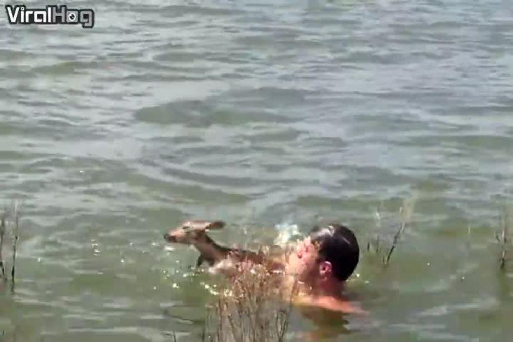 (VIDEO) HEROJI POSTOJE, SVAKA ČAST OVOM ČOVEKU! Preplašeno lane se davilo...