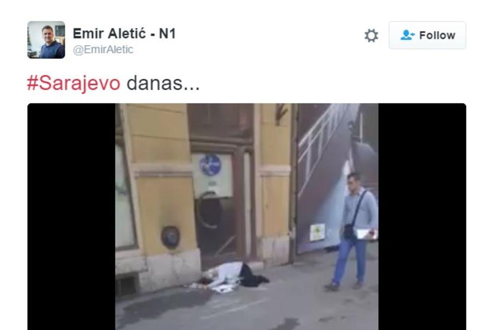 (VIDEO) TUŽNA SLIKA U CENTRU SARAJEVA: Starica ležala na pločniku, niko nije stao da joj pomogne