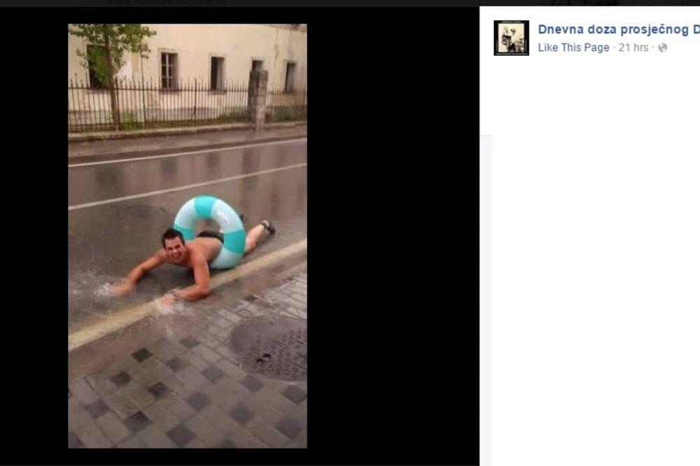 (FOTO) ZAPLIVAO NASRED PUTA: Provala oblaka u Hrvatskoj stvorila idealne uslove za kupanje na ulici