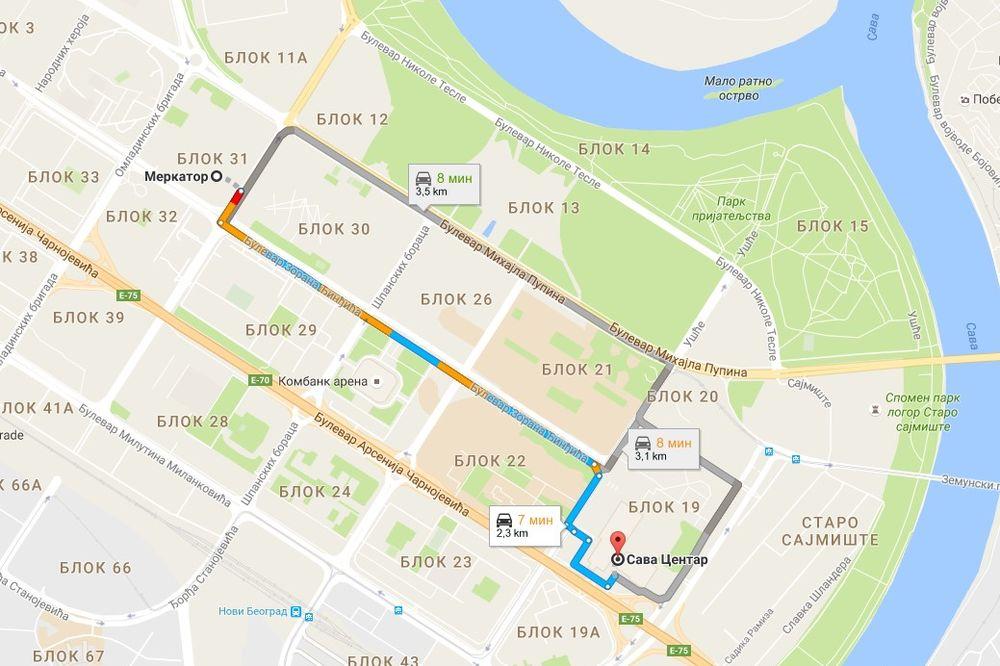 Mapa Beograda Bulevar Nikole Tesle Superjoden