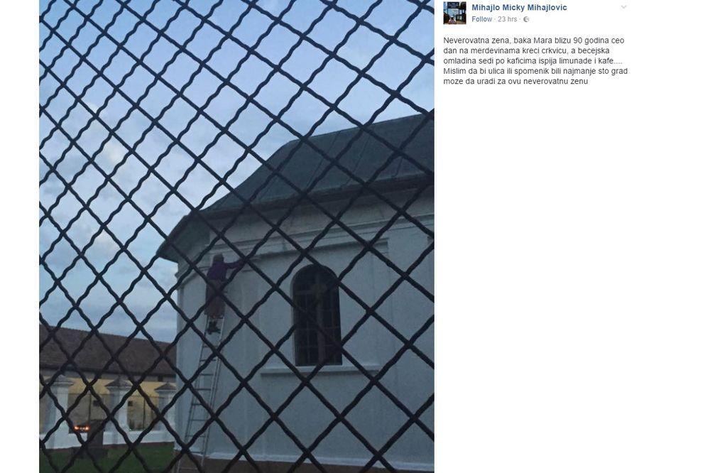 (FOTO) OVO JE BEČEJSKA SUPER BAKA: Sama rešila da okreči lokalnu kapelu, meštani ostali u čudu