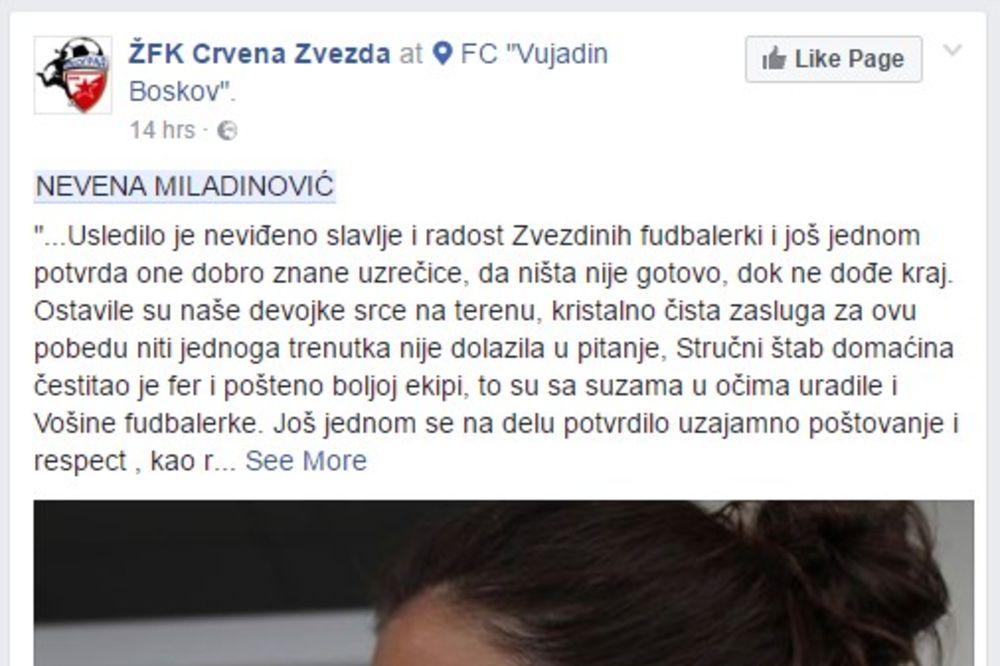 POKRENUT DISCIPLINSKI POSTUPAK: Prijava protiv funkcionera koji je udario fudbalerku Zvezde!