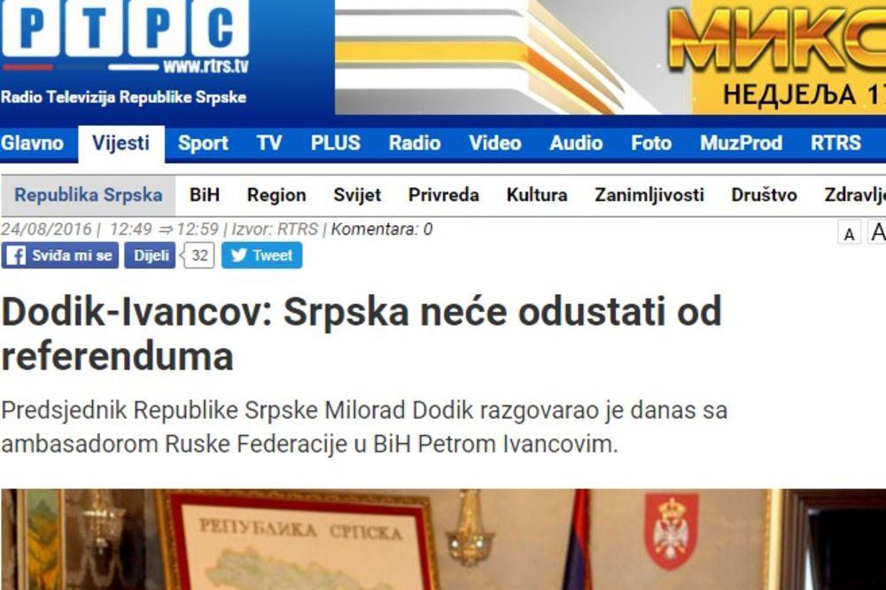 DODIK S AMBASADOROM RUSIJE: Nema odustajanja od referenduma o Danu Srpske
