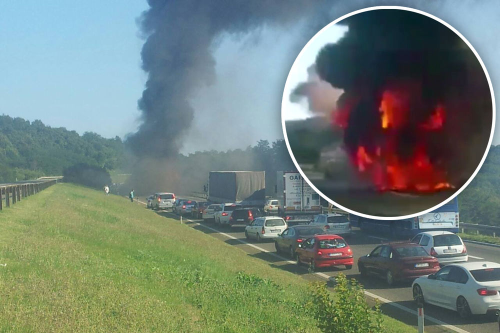 (KURIR TV) DRAMA NA AUTO-PUTU: Pogledajte kako je izgoreo Lastin autobus!