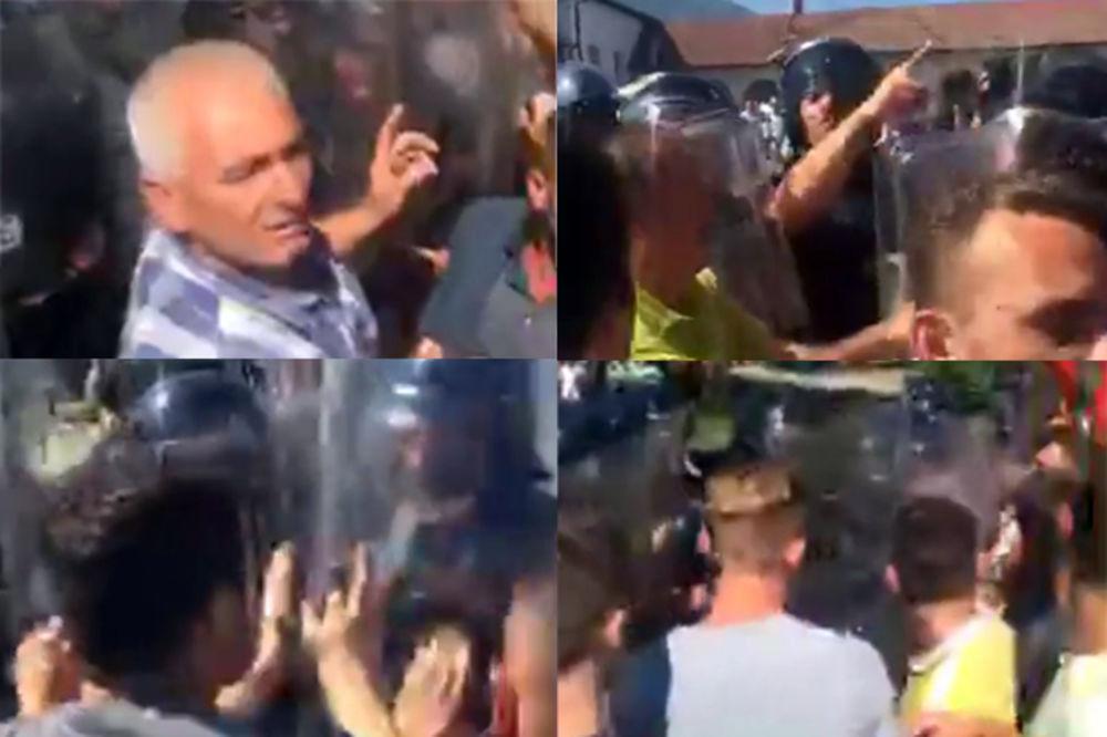 UŽIVO NE DAJU SRBIMA U SUVU REKU Albanci na juriš hoće da probiju kordon policije u Mušutištu!
