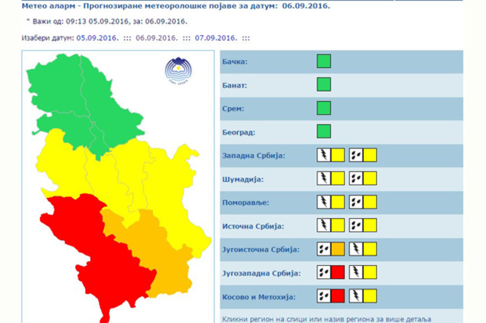 Crveni meteolaram u Jugozapadnoj Srbijij i Kosovu