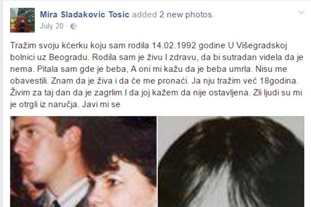 MIRA TRAŽI ĆERKU: Rodila sam te živu i zdravu 1992, sutradan te nije bilo! Znam da si živa!