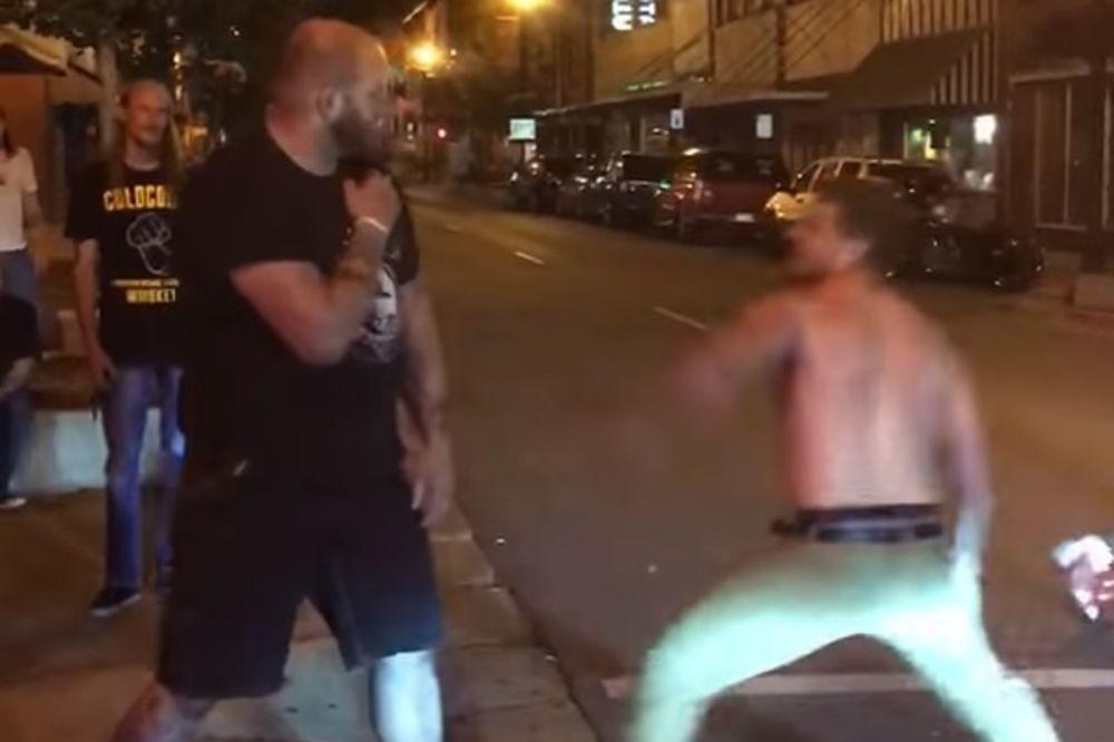 (VIDEO) ZASLUŽENE BATINE: Napao obezbeđenje kluba, pa dobio po... nosu!