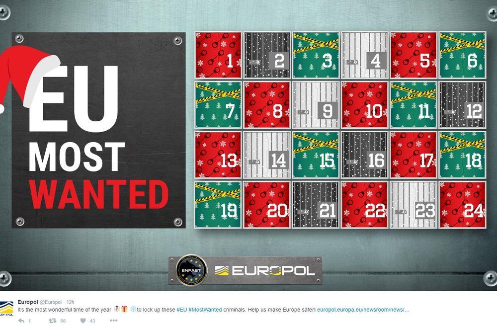 EUROPOL OBJAVLJUJE BIZARNI BOŽIČNI KALENDAR: Za svaki dan po jedan kriminalac sa poternice