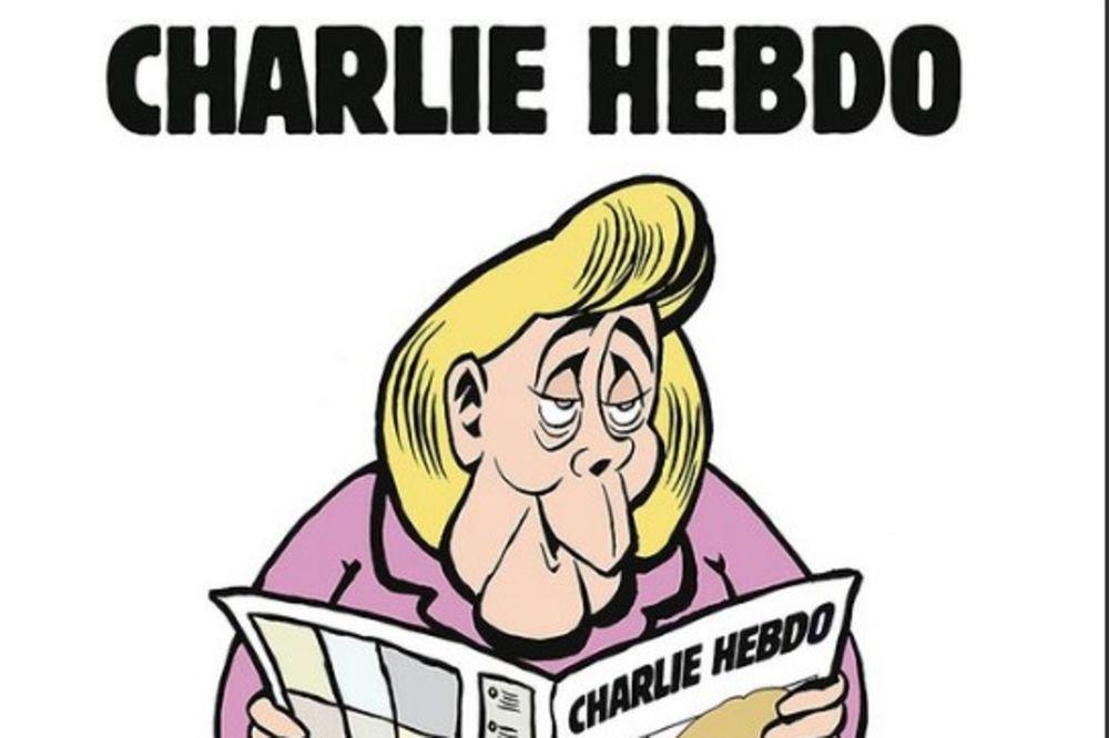 ŠARLI EBDO IZBACIO PRVI BROJ U NEMAČKOJ: Nacrtali Merkelovu na toaletu kako čita njihove novine