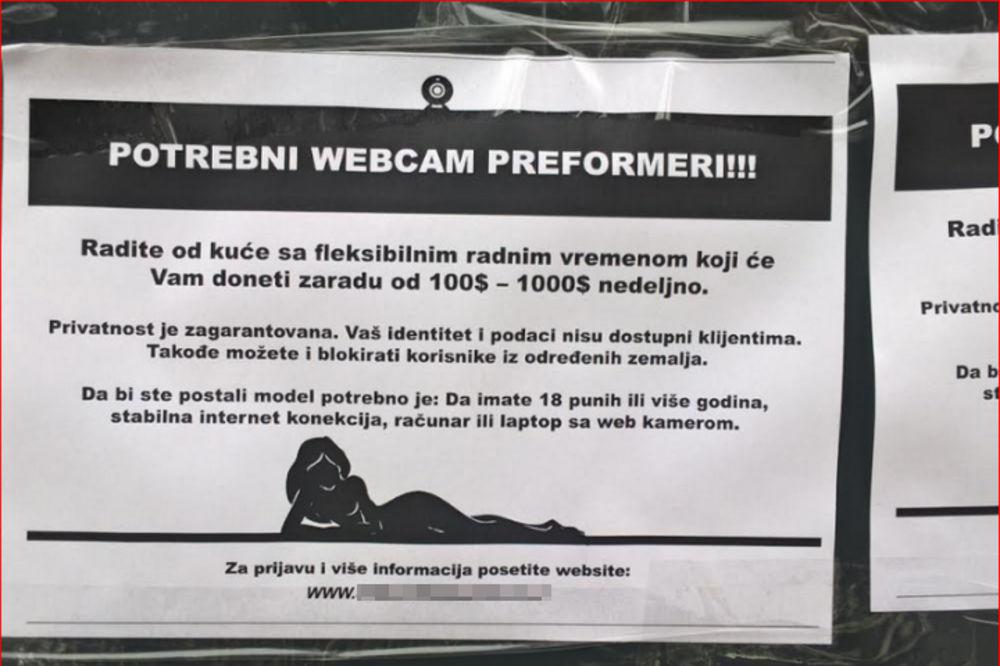 (FOTO) OVAJ OGLAS ZGROZIO JE LESKOVČANE: Stoji pored čitulja, a poziva na internet prostituciju?!