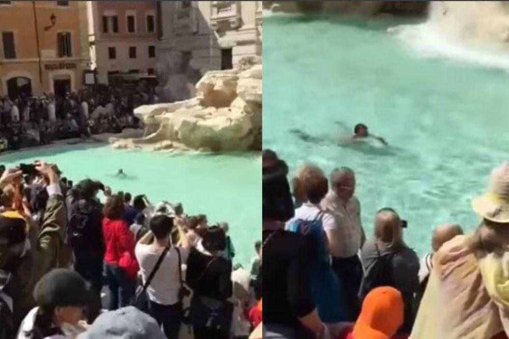(VIDEO 18+) POTPUNO GO PREPLIVAO FONTANU U RIMU: Pokušao da pobegne, pa povredio POLICAJCA!