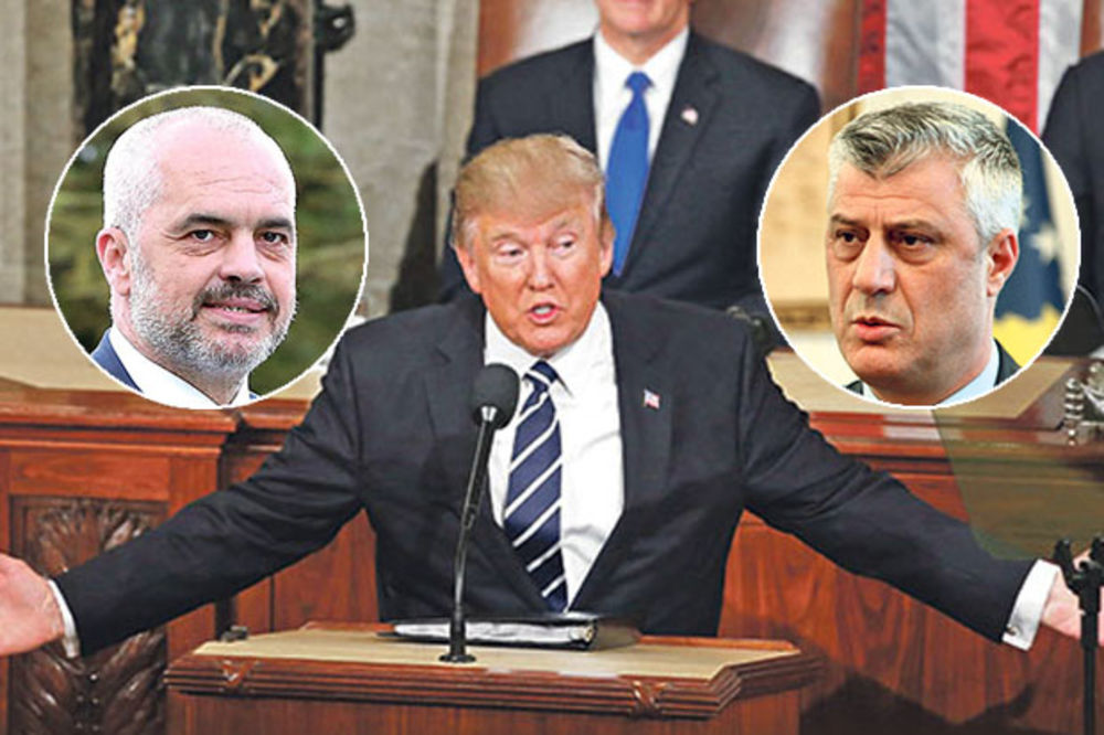 TRAMPOV ŠAMAR TAČIJU I RAMI: Vašington im poručio da više ne pominju ujedinjenje Kosova i Abanije!