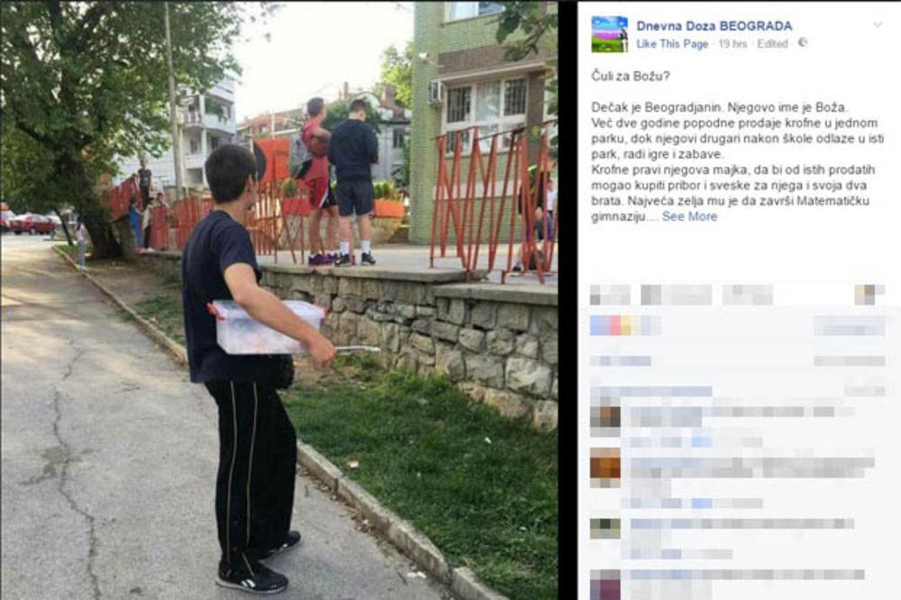 DEČAK O KOM PRIČA CELA SRBIJA: Boža prodaje krofne ispred škole kako bi se školovao
