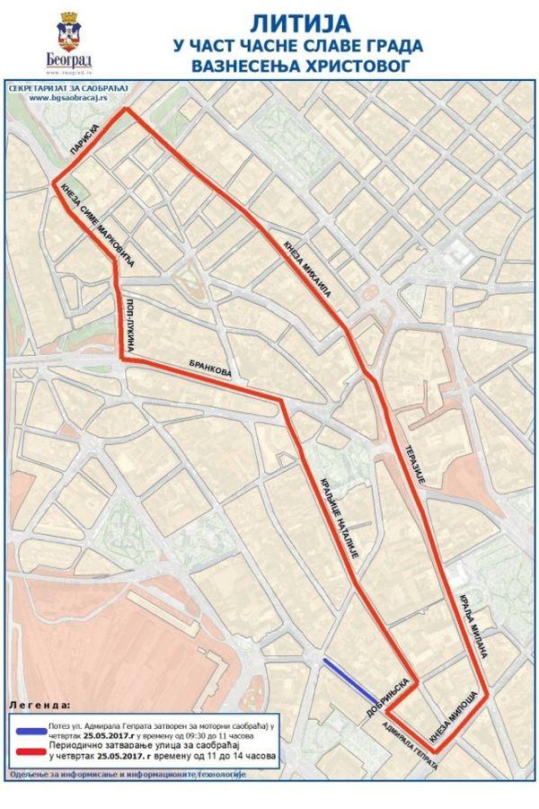 mapa beograda terazije MAPA) BEOGRAD SLAVI SPASOVDAN: Ove gradske ulice biće potpuno  mapa beograda terazije