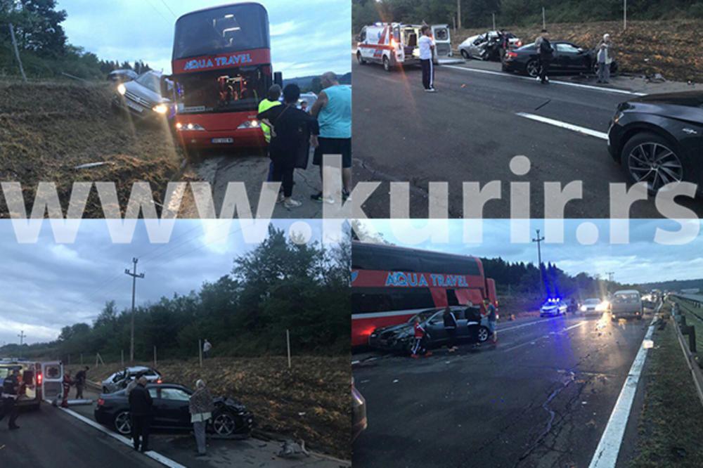 PRVE FOTOGRAFIJE I VIDEO SA LICA MESTA: Stravičan lančani sudar kod Vrčina, poginuo muškarac, 5 povređeno