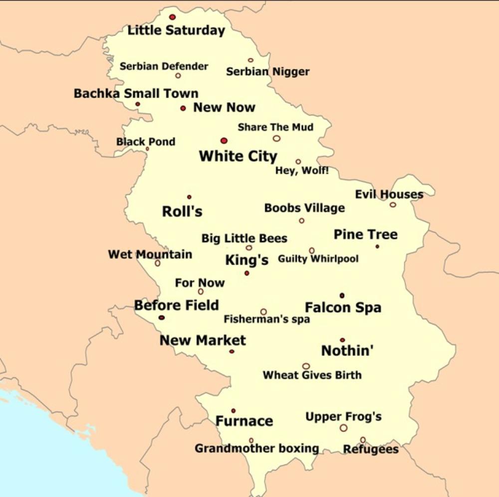 Smesna Mapa Ovo Su Imena Srpskih Gradova Prevedena Na Engleski