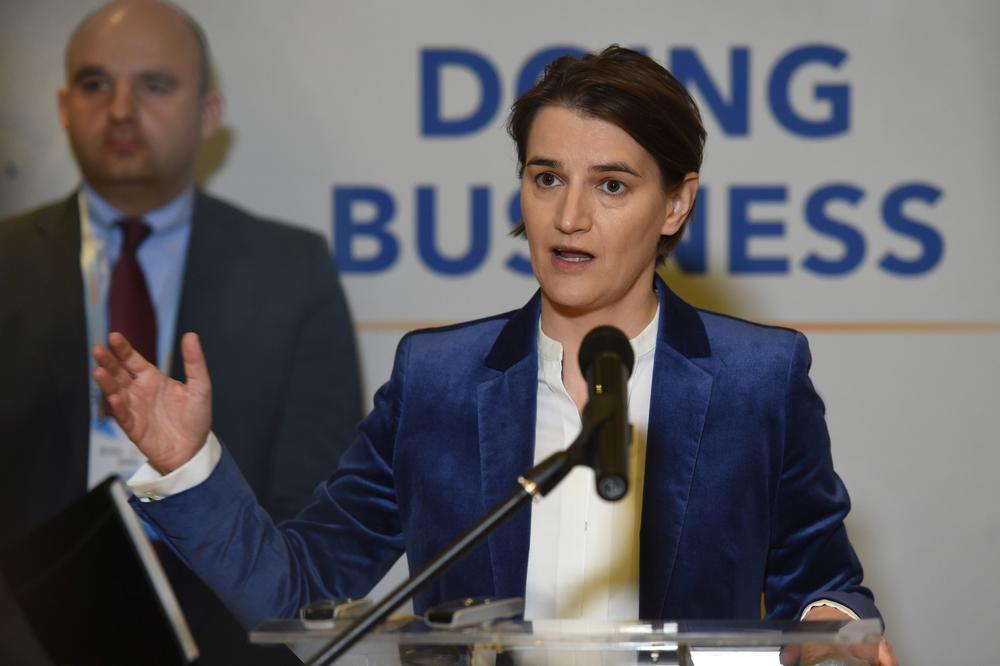 PREMIJERKA BRNABIĆ: Trostruka kruna za ovu godinu, Srbija na 43. mestu Duing biznis liste