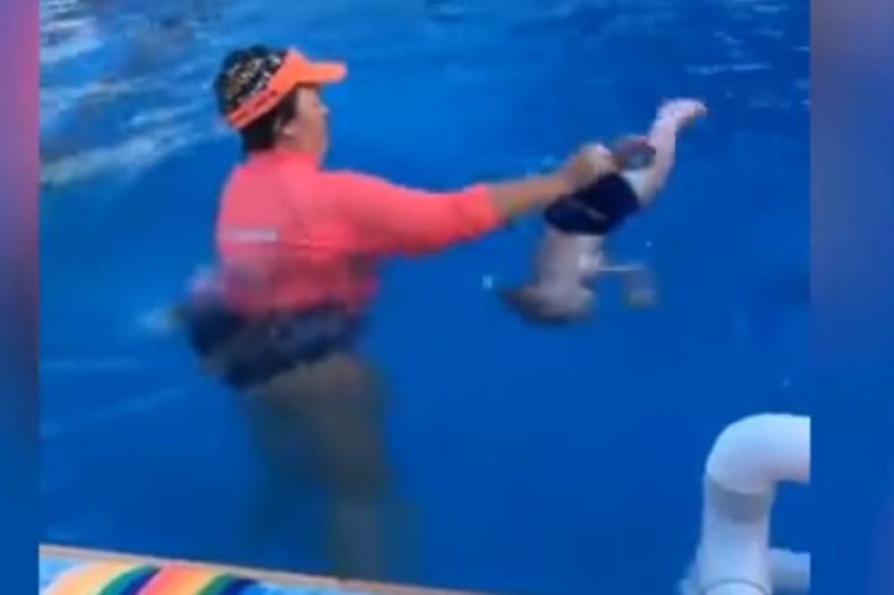 (VIDEO) BEBU OD 9 MESECI JE BACILA U BAZEN: Htela je da vidi da li ume da pliva, a ostala je u šoku zbog onoga što se desilo!