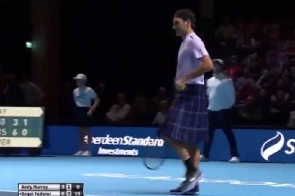 (VIDEO) ŠOU U GLAZGOVU, RODŽER RASPAMETIO PUBLIKU: Federer protiv Mareja igrao u suknji!