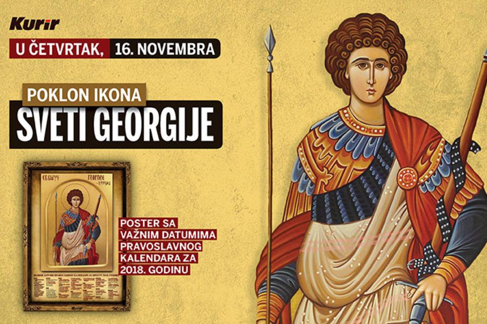 ZA ĐURĐIC POKLON U KURIRU: U četvrtak svaki čitalac dobija ikonu Svetog Georgija sa crkvenim kalendarom za 2018. godinu