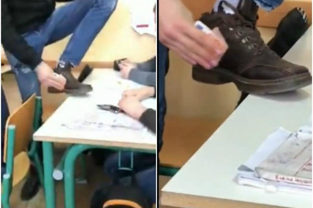 (VIDEO) SNIMAK KOJI JE RAZBESNEO REGION: Srednjoškolac iz Crne Gore brisao cipele novčanicom od 50 evra nasred časa!