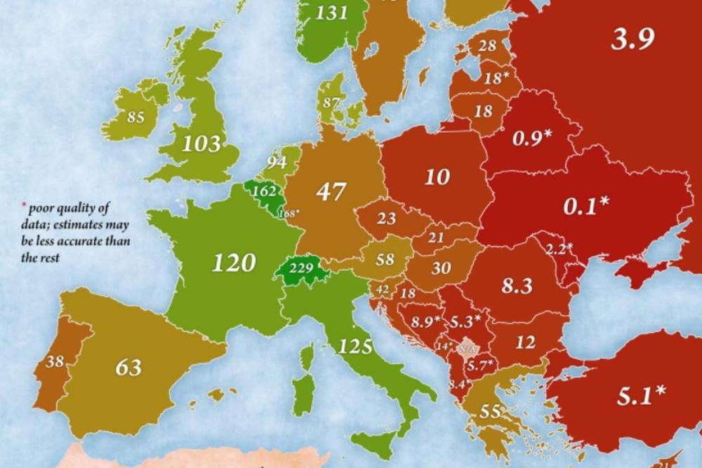 Foto Mapa Bogatstva Evropskih Drzava Ce Vas Oduvati Zemlje Bivse
