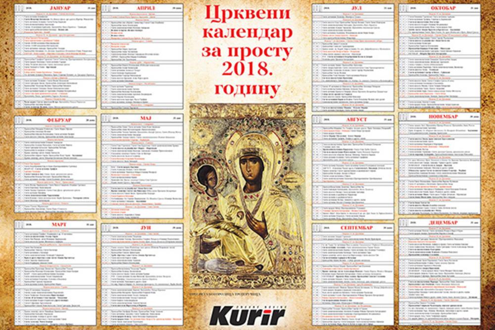 DANAS U KURIRU POKLON: Veliki crkveni kalendar za prostu 2018. godinu