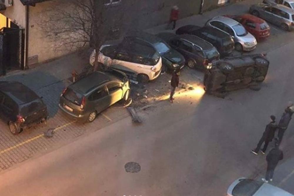 OPŠTI HAOS U NOVOM SADU: Crnim džipom se zakucao u parkirane automobile, pa se prevrnuo