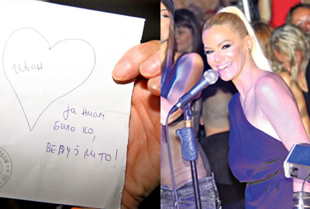 NATAŠU NA NASTUPU DOČEKALO PISMO: Nato, želim da te volim i čuvam! (FOTO)