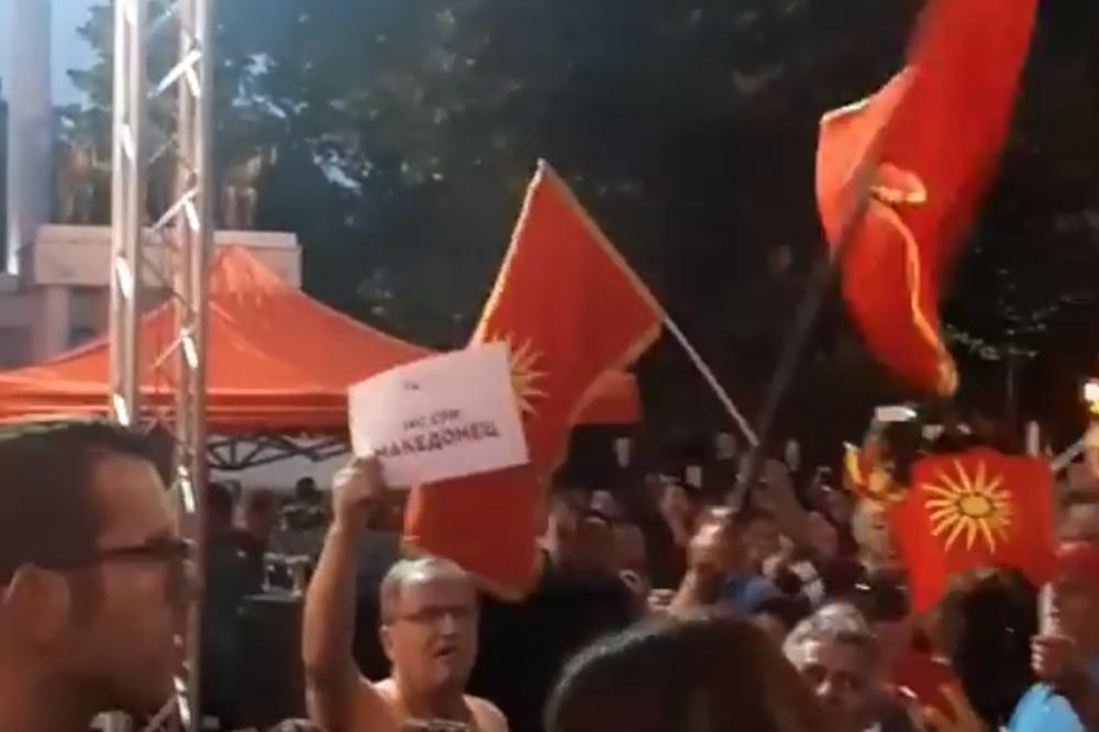 NOVI PROTEST ISPRED SOBRANJA Demonstranti uzvikivali: Nikad Severna, uvek Makedonija! (VIDEO)