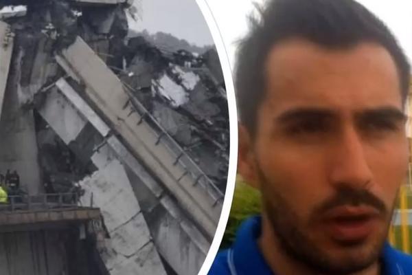 BOŽIJE ČUDO! ITALIJANSKI GOLMAN PREŽIVEO PAD MOSTA U ĐENOVI: Survao se sa 30 metara visine! Nema ni ogrebotinu! (VIDEO)