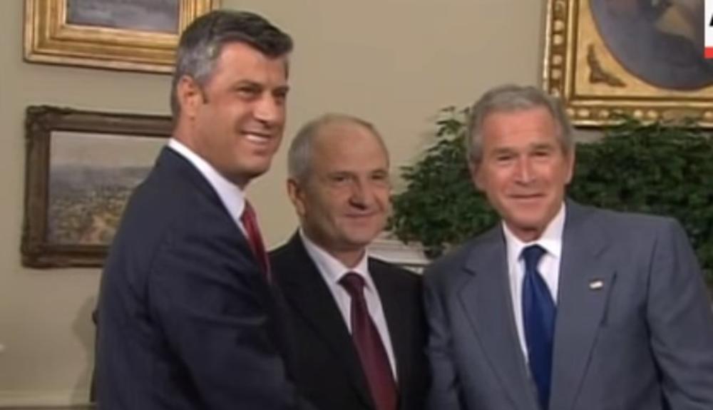 Direkta podrška iz SAD: Terorista Hašim Tači sa Džordžom Bušem