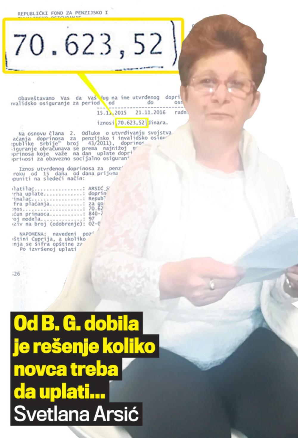 Arsićeva: Strahujem da ću zbog lopovluka B. G. ostati bez penzije