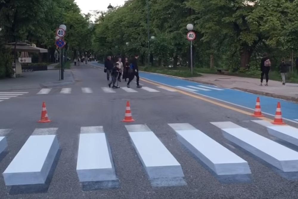 Rezultat slika za Sarajevo dobilo prvi 3D pješački prijelaz