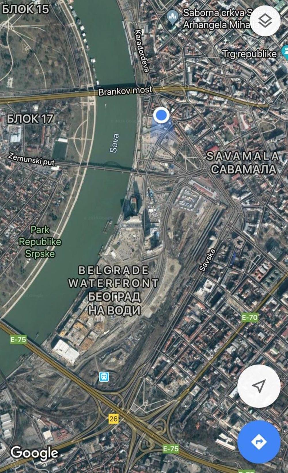 Gugl Map Stavio Beograd Na Vodi Na Mapu Sveta