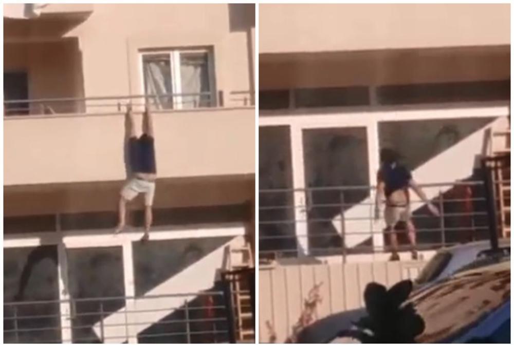 BEŽI IZ ŠVALERACIJE: Mladić snimljen kako visi sa terase stana u Budvi!  Ljudi misle da je spasavao živu glavu od ljubomornog muža! (VIDEO)
