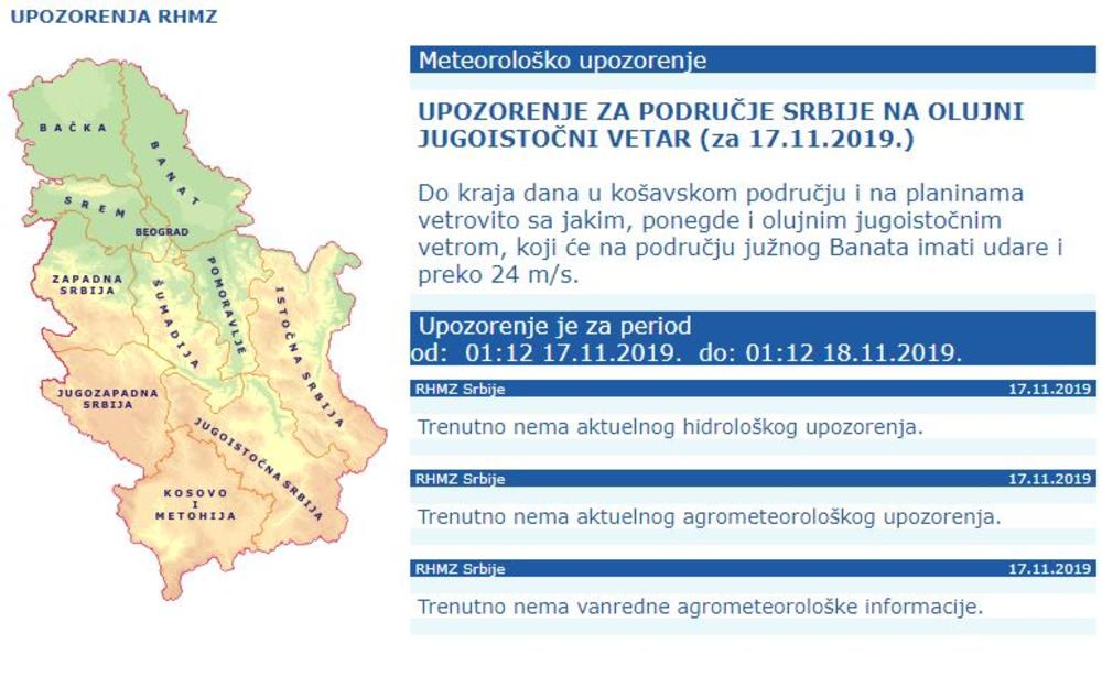 Novo Upozorenje Rhmz Danas I Sutra Oluja Tutnji Srbijom