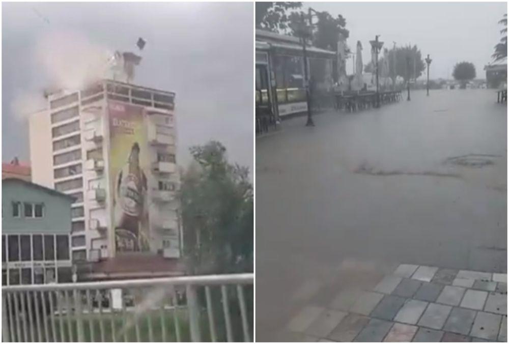 NEVREME STIGLO I U MAKEDONIJU: U Delčevu zgrada ostala bez krova, potop u Ohridu (VIDEO)
