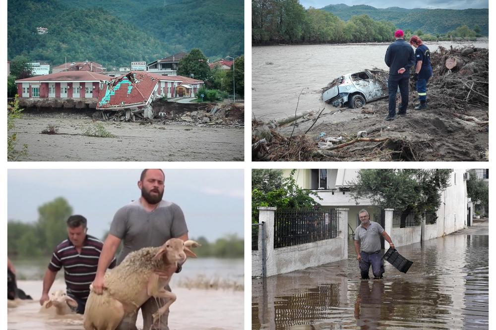 URAGAN PRAĆEN POPLAVAMA SRUŠIO KUĆE I MOSTOVE U GRČKOJ!  Pogledajte kako farmeri spašavaju zarobljene životinje!